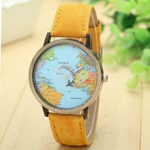 Accessories - New Global Travel By Plane Map Casual Denim Watch